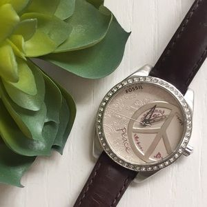 Fossil Peace Watch with Brown Leather Strap